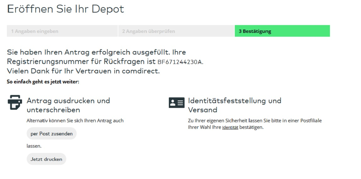 Depotübertrag Comdirect
